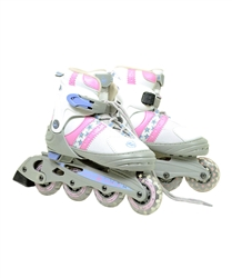Pink & White Ultra-Wheels Transformer In-Line Skates Size 5-8