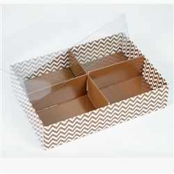 Four Compartment Candy Gift Box Zig Zag Linear Design