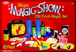 Ideal 220 Trick Mega Magic Show Kit 62 Piece Set with Top Hat and Wand Ages 7 and Up
