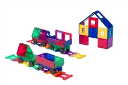 Playmags Clear Colors Magnetic Tiles Building Set 50 Piece Accessory Set Includes Magnetic Cars